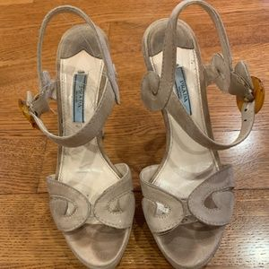 Prada Tan Suede Peep Toe Sandal Pump Swirl Detail